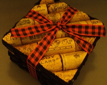 Wine Cork Coasters Unique Gift Upcycled set of 4 Square