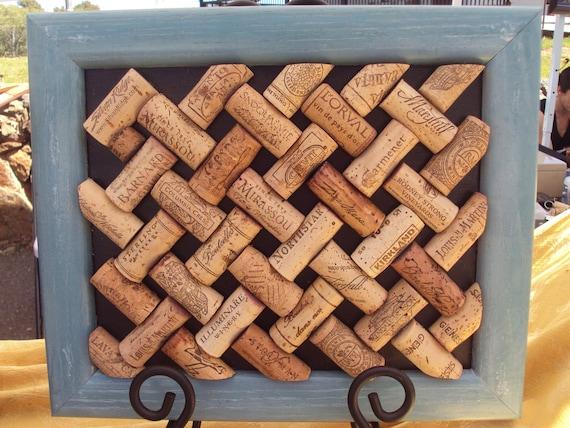 Repurposed Wine Cork board blue frame