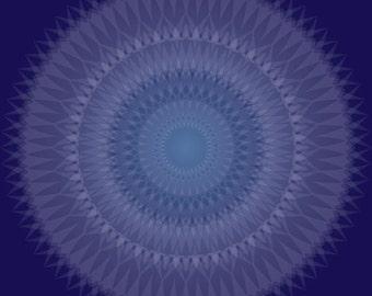 Sapphire Blossom, Royal Blue Mandala, Meditation Art, Jewel Tones, Deep Blue Shape, Geometric Art Print, Complex Shape, Blue White Pattern