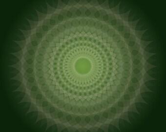 Jade Blossom, Jewel Tone Art, Deep Green, Emerald Green Art, Mandala Artwork, Green and White, Energy Art, Meditation Art, Kaleidoscope Art