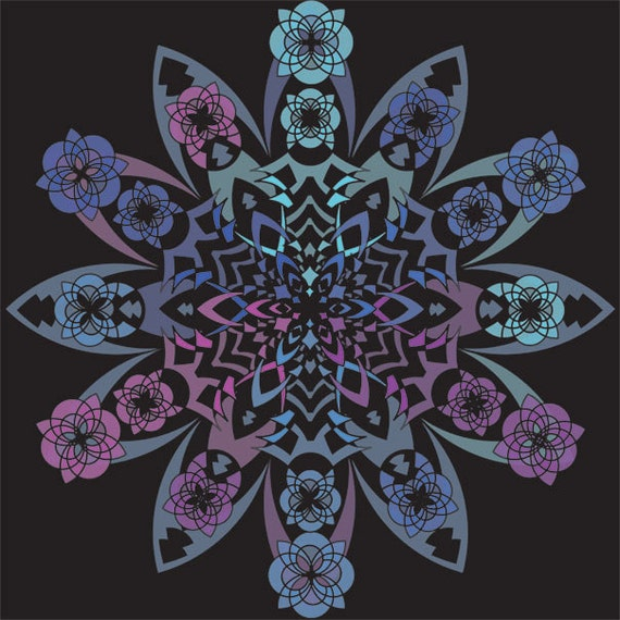 Blue and Purple Mandala, Cosmic Pattern, Geometric Art Print, Starburst Design, Flower Pattern, Meditation Artwork, Detailed Art