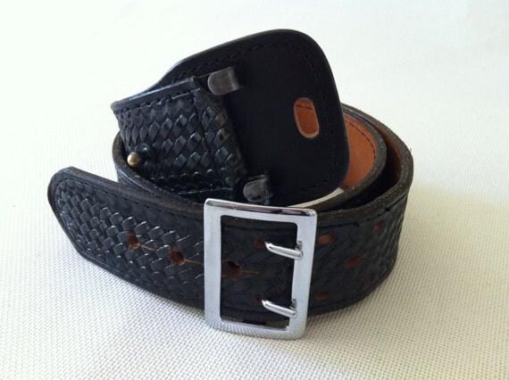 Black Leather Belt - Basket Weave Police Officer: Dutyman Duty Belt with Nickel Buckle. Rocker Belt