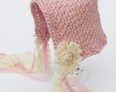 Hand Crocheted Newborn Pixie Bonnet in Pink & Cream, vintage style, shabby chic  - Great PHOTO PROP idea from Cwtch Bugs - UK Seller