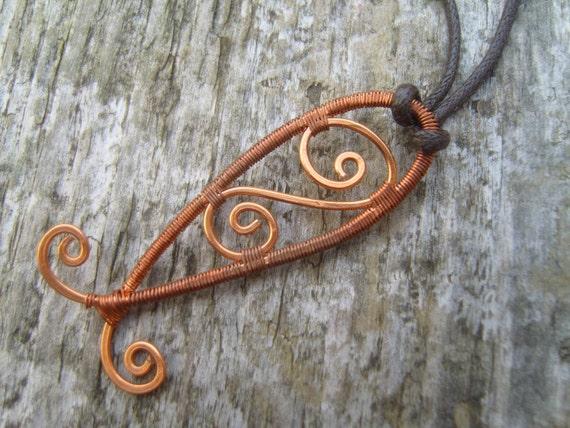 Copper Fish Wirewrapped Pendant
