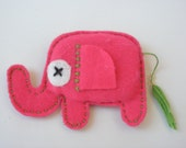 Felt Elephant Brooch - ELLIE E.  - HOT Pink - OOAK