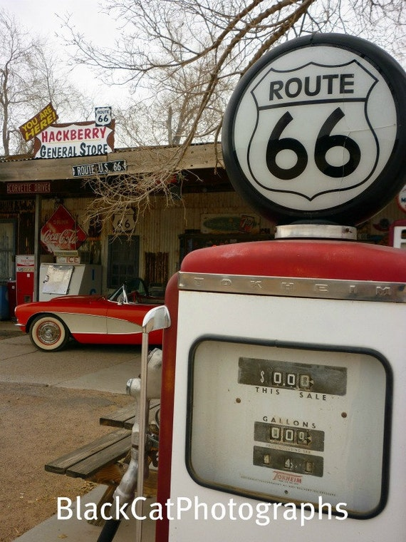 items similar to route 66 photograph retro decor classic antique gas pump old car photo. Black Bedroom Furniture Sets. Home Design Ideas