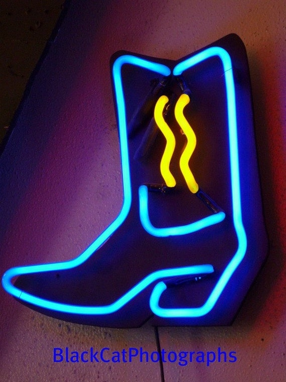 Neon Cowboy Boot photograph, Cowboy Decor, neon wall art photo, historic Route 66, western decor, blue and purple 5x7 print, ranch wall art