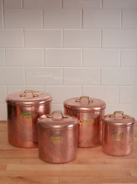 Set Of Vintage Kitchen Canisters Copper And By Dnhstateoftheart