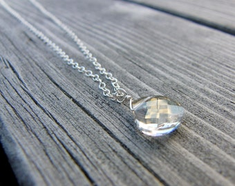 Swarovski Crystal Briolette Pendant Necklace Silver Shade
