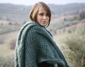 RESERVED for AVA : Emerald Green Kid Mohair Shawl Wrap Poncho - Handmade in Italy