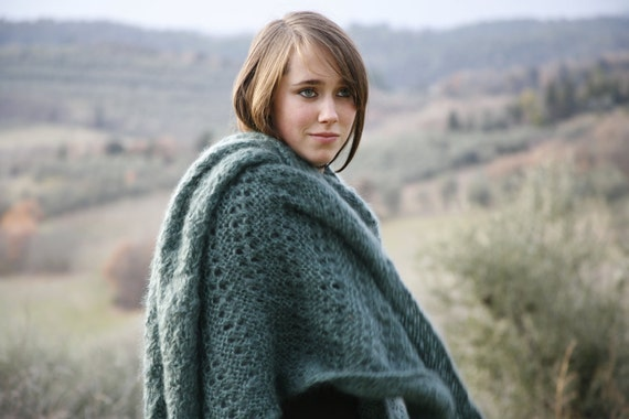RESERVED  FOR  MELANIE : Mohair Shawl Wrap Poncho - Handmade in Italy