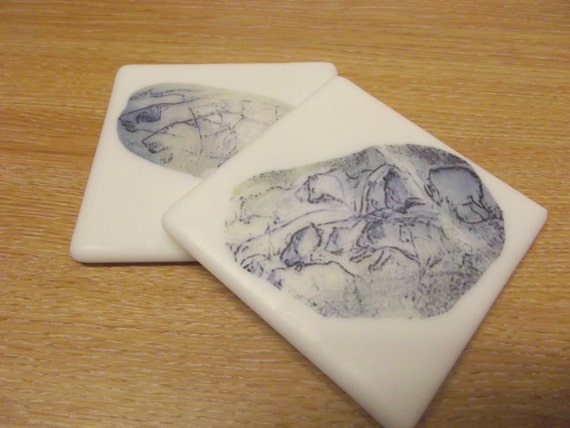 Glass Coasters Cave Art