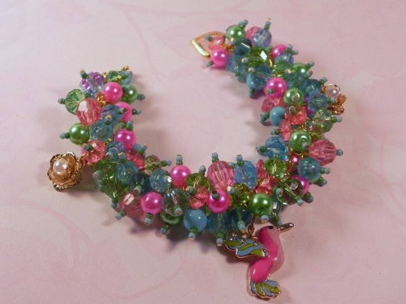 """Pink, Green and Blue Beaded Bird Charm Bracelet With Earrings - """"Humming Bird"""" - Charm Bracelet - By Sealed With A Kiss"""
