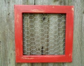 Rustic Red Shabby Chic Chicken Wire Memo Board Photo Picture Display Beach Cottage Country Farmhouse Home Decor Kitchen Bedroom Gift