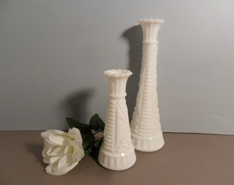 Vintage White Milk Glass Vases Wedding Instant Collection Set Cottage Home Decor Spring Summer Beach Country Farmhouse Pair Gift Lovely