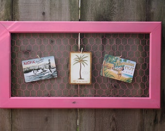 Pink Shabby Chic Chicken Wire Memo Board Paris French Country Farmhouse Home Decor Mothers Day Birthday Gift For Her Pretty Lovely Feminine