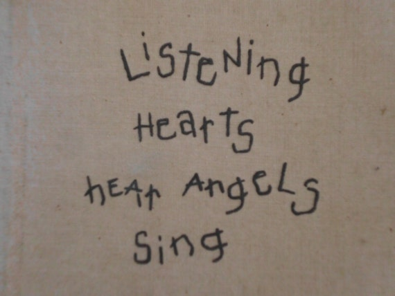 Vintage Listening Hearts Hear Angels Sing Quote Country Farmhouse Beach Cottage Shabby Chic Home Decor Valentines Day Gift