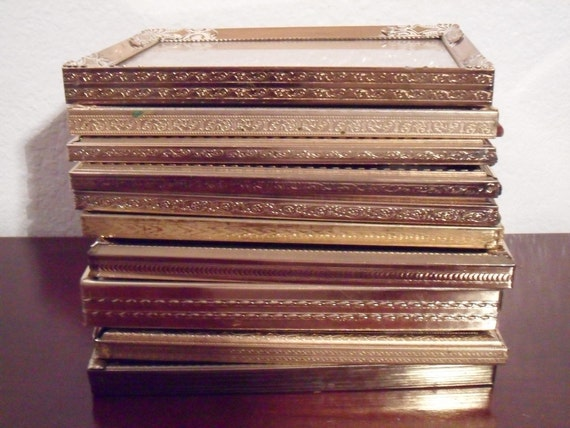 Vintage Gold Metal Frame Collection Set 5 x 7 Wedding Table Number Decoration Paris Shabby Chic Cottage French Country Farmhouse Home Decor