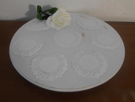 Wedding White Cake Tray Cup Cake Stand Wooden Lazy Susan Upcycled Wood Gift Eco Friendly Bridal Baby Shower Party Cupcake Display