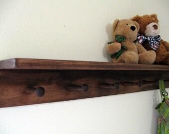 dark brown shelf, walnut stain shelf, home decor, LaRGE PeG SHeLF, by Wreckd on Etsy, pick color, dark brown shelf