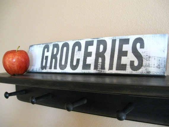 wood kitchen sign home decor... Groceries... by Wreckd on Etsy ... ready to ship