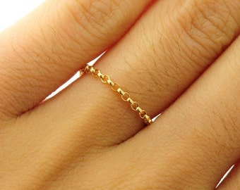 Gold  chain ring,  Custom Size, Thin and feminine, Minimum Jewelry,  rolo chain, everyday jewelry - Fifi LaBonge-