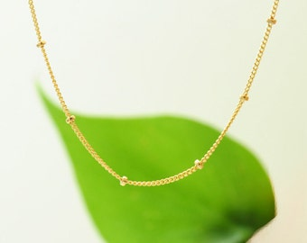 Gold-filled: Delicate Gold Necklace, Perfect layering Necklace, Minimalist Necklace, Minimum Jewelry, Gold Dot Chain, gold chain necklace
