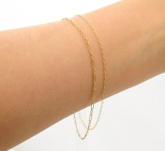 Delicate Gold Bracelet,  two chains, thin and feminine, Minimum Jewelry,  everyday jewelry - Fifi LaBonge-