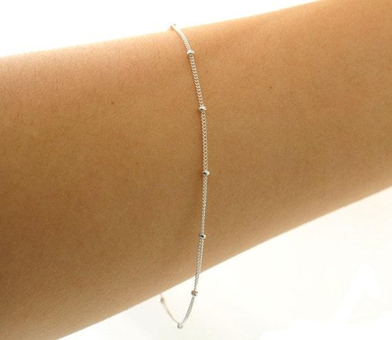 Delicate Silver Bracelet, Thin and feminine, Minimum Jewelry,  Silver Dot Chain, everyday jewelry - Fifi LaBonge-