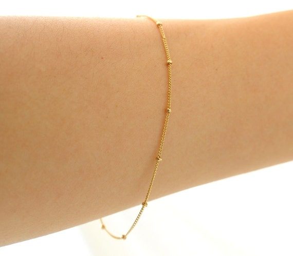 Thin Gold Chain Bracelet: Delicate Gold Bracelet Thin And Feminine Minimum By