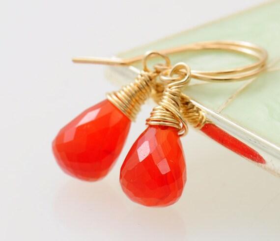 Carnelian Earrings - Bright Orange gemstone. Gold earrings. 14k Gold Filled. wire wrapped. - Fifi LaBonge -