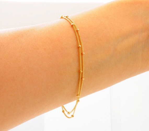 Thin Gold Chain Bracelet: 14K Gold. Chain Bracelet Delicate Gold Bracelet Two Chains