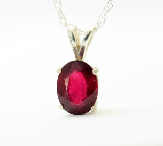 Mahaleo Ruby Necklace. 1.25 Carats. Oval. Red Ruby Sterling Silver Pendant Necklace. - Fifi LaBonge -