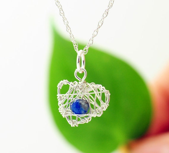 Silver Heart Necklace,  Silver heart pendant,  Lapis Lazuli neckalce, unique and  feminine Jewelry, everyday jewelry - Fifi LaBonge-