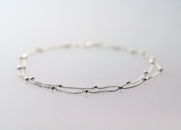 Delicate Silver Bracelet Two chains Thin and by Fifilabonge