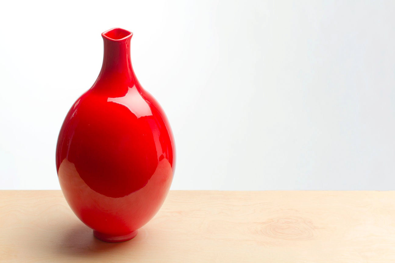 Large Red Ceramic Vase by RedClayCo