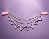 Bunting sweater guard with pink and white glass beads