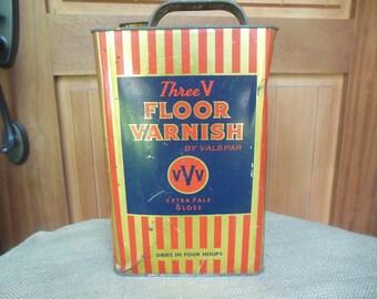 Vintage 1930 Three V Floor Varnish Tin Cans