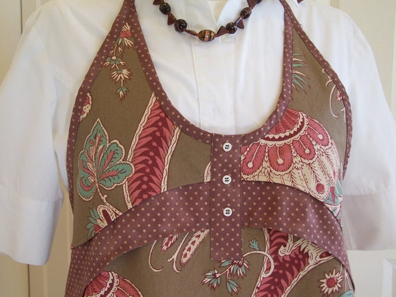 Women's Full Apron, Gorgeous Peacock and Flower Full Chef's apron, Chocolate Brown Apron
