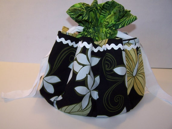 Jungle Bingo Bag, Green and flowered Multi-Use Drawstring Bag, Cosmetic pocket Pouch
