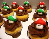 Super Mario Brothers 3D Mushroom Cupcake Toppers