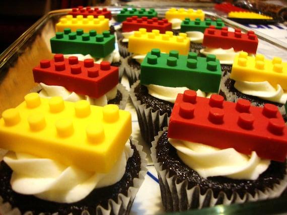 Chocolate Lego Blocks Cupcake Toppers