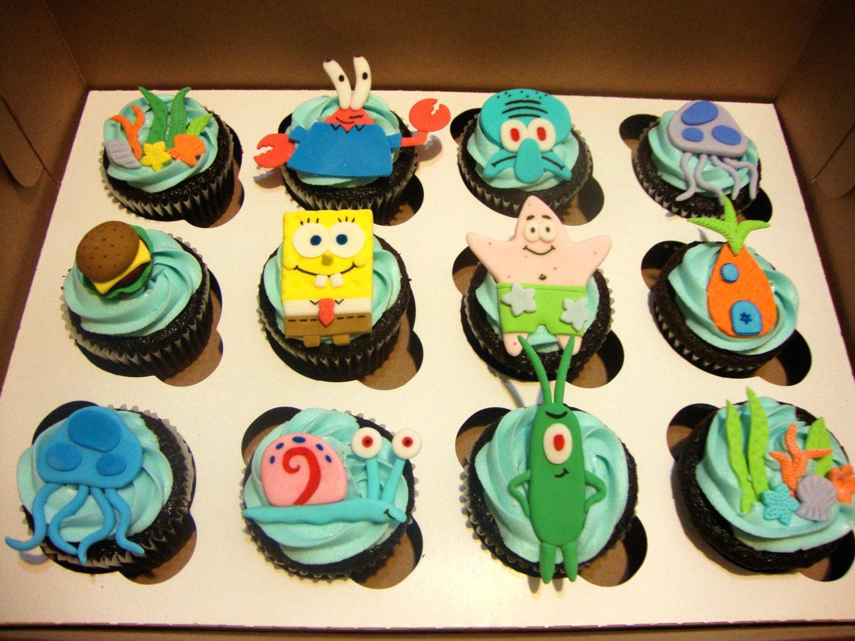Decorating Ideas > Spongebob Squarepants Handmade Fondant Cupcake Toppers ~ 082523_Fondant Cake Topper Ideas
