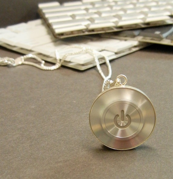 Mac Power Button Click Pendant set in 925 Sterling Silver