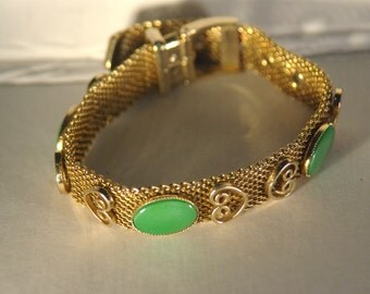 Collectible Costume Jewelry - Vintage Gold-tone Mesh Buckle Bracelet with Green Cabochon.