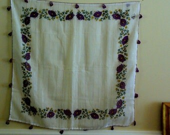 Vintage Scarf with Purple and Yellow Flowers