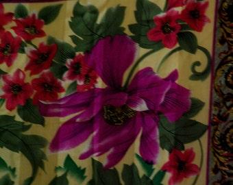 Vintage Oscar de la Renta Silk Floral Scarf.  FREE Shipping (USA Only)