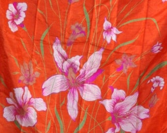 Vintage Silk Scarf,  Coral, Floral Motiff,Women Accessory,Birthday Gift