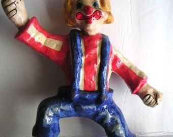 Vintage Clown, Collectible Folk Art - Paper Mache Circus Clown
