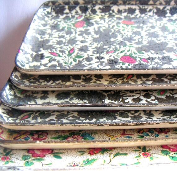 Cottage Chic - Vintage Paper Mache Trays (Seven), Botanical, Garden,